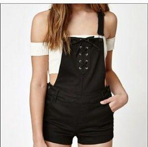 Black Pacsun overall bib shorts denim jean corset
